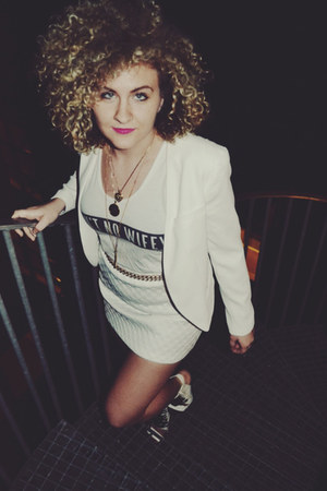white Nasty Gal shoes - white Forever 21 blazer - white Topshop skirt