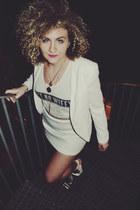 white Nasty Gal shoes - white Forever 21 blazer - white Topshop skirt