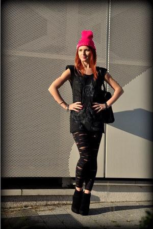 In Vein dress - Top Secret coat - Primark leggings