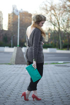 gray H&M sweater - tan Gap coat - neutral Uniqlo hat - teal thrift purse