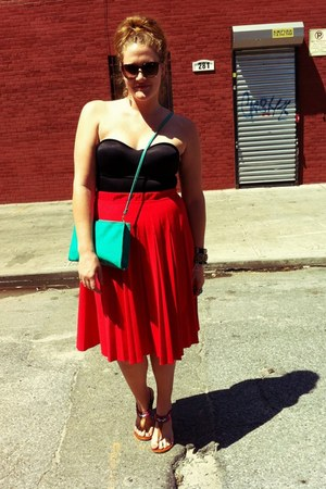 red vintage skirt - turquoise blue thrift purse - hot pink Forever21 sandals