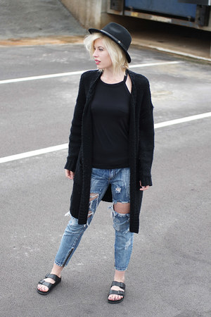 black fedora asos hat - blue One Teaspoon jeans - black Birkenstock sandals