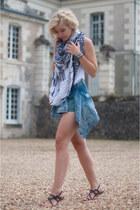 blue Zara scarf - sky blue Pepe Jeans jacket - teal Zara shorts