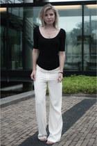 black H&M shirt - beige Expresso pants - camel Les Tropeziennes sandals