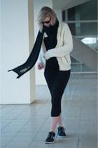 black H&M Trend dress - cream Nowhere jacket - black Shop Affaire scarf