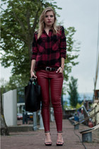 RED LEATHER AND CHECKS