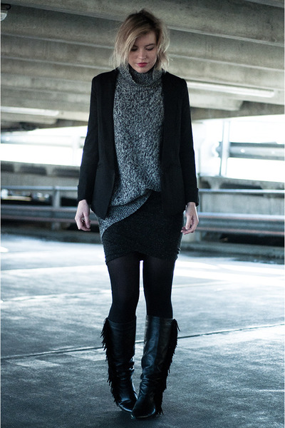 black Martofchina blazer - black sacha shoes boots