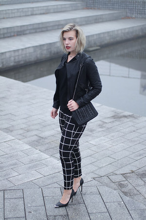 black leather asos jacket - black pointy heels Guess pumps - black costes pants