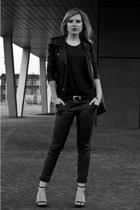 black Oasis jacket - black Zara bag - black Zara vest - black Zara sandals