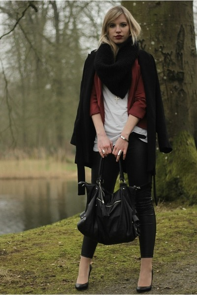black Zara coat - black H&M leggings - crimson burgundy Vero Moda blazer