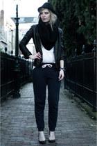 black fedora black H&M hat - black Mango blazer - ivory H&M shirt