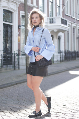 sky blue H&M Trend shirt - black asos scarf - black Zara bag - black H&M skirt