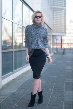 black Mango skirt - black Mango boots - charcoal gray Topshop sweater