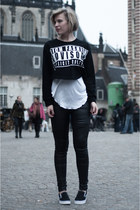 black Choies sweater - black Coolcat pants - black Vans sneakers