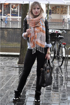 orange H&M scarf - black Levis jeans - black Oasis jacket