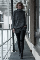 black H&M boots - charcoal gray lindex sweater - silver H&M pants