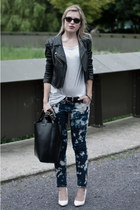 white Mango wedges - navy H&M jeans - black Oasis jacket - black Zara bag