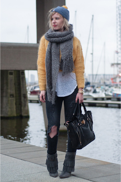 mustard H&M Trend jumper - charcoal gray costes boots