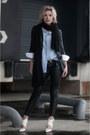 Black-h-m-jacket-sky-blue-costes-shirt-black-knit-knitwear-monki-scarf
