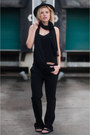 Black-fedora-lierys-hat-black-zara-pants-black-birkenstock-sandals