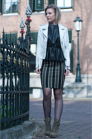 white Mission Blue jacket - olive green InVito boots - forest green H&M skirt