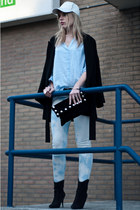 light blue H&M blouse - black Mango boots - black Zara coat