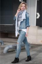 sky blue Pepe Jeans jacket - black Sacha boots - sky blue asos jeans