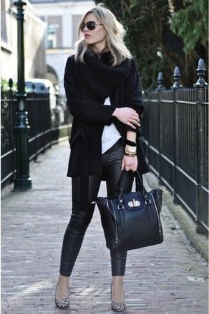 black Zara coat - black H&M leggings - black melie bianco bag