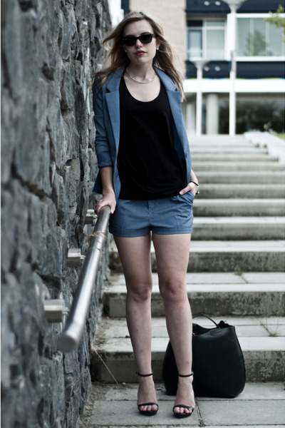 sky blue H&M blazer - black Zara bag - sky blue H&M shorts