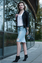 light blue Zara skirt - black Maison Martin Margiela for H&M boots