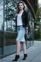 light blue Zara skirt - black Maison Martin Margiela for H&M boots