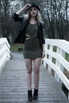 black MMM x H&M boots - olive green inlovewithfashion dress