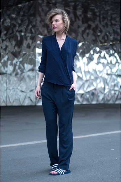 navy Only shirt - navy H&M Trend pants - navy Adidas sandals