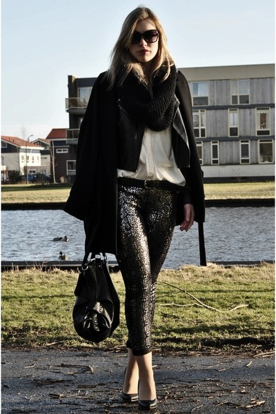 black Zara coat - black Oasis jacket - silver sequin sequined Red Rouge leggings