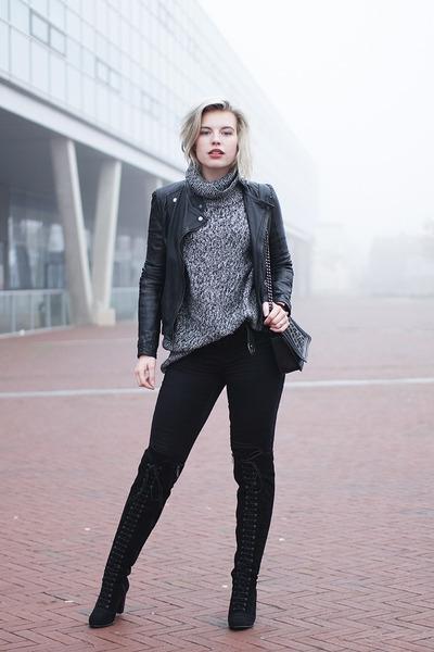 black Topshop boots - black Only jeans - black leather biker asos jacket