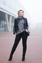 black Topshop boots - black Only jeans - black leather biker asos jacket