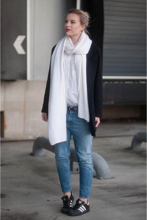 black asos coat - blue Diesel jeans - white oversized asos shirt
