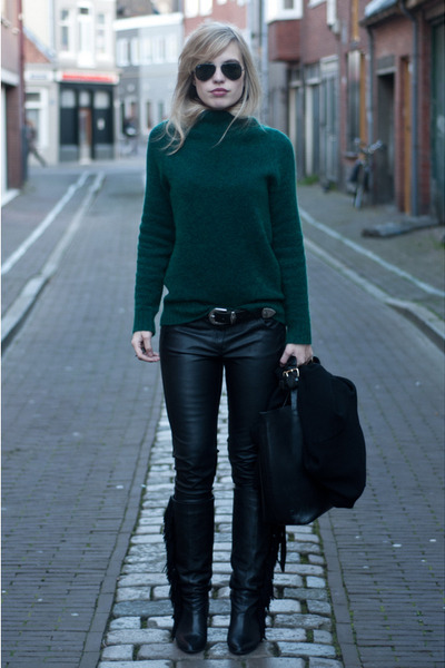 green H&M Trend sweater - black Sacha boots - black Zara bag