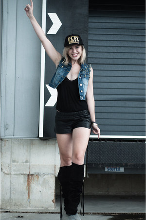 black H&M New Icons boots - black Coolcat hat - black vintage shorts