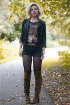 black H&M jacket - olive green Topshop boots - black Levis shorts