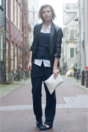 navy Vila cardigan - black Mango jacket - white Zara bag - white H&M blouse
