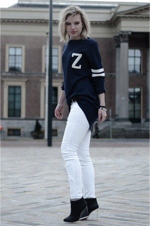 navy H&amp;M sweater - black Maison Martin Margiela for H&amp;M boots