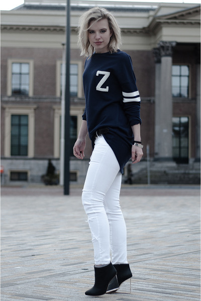 navy H&M sweater - black Maison Martin Margiela for H&M boots