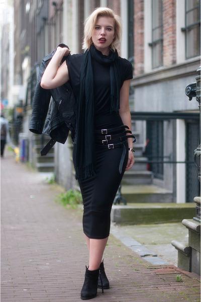 black Sacha boots - black H&M Trend dress - black H&M jacket