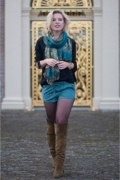 turquoise blue pashmina silk V&D scarf - olive green Topshop boots
