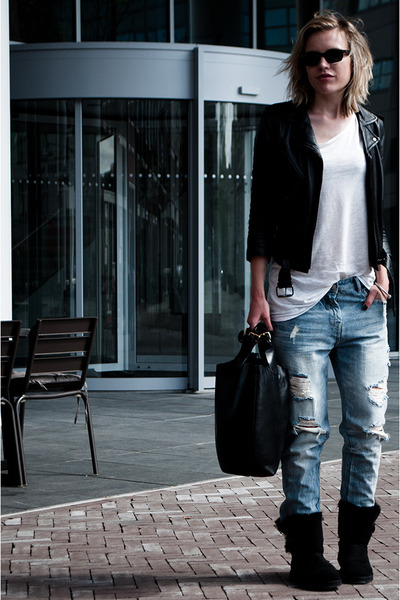 black Ugg boots - light blue Zara jeans - black H&M jacket - black Zara bag