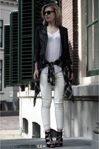 white Hema t-shirt - black H&M jacket - black ray-ban sunglasses