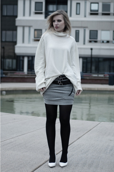 off white maison martin margiela X H&M sweater - heather gray pieces skirt