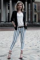 black Mango jacket - sky blue the Sting pants - white H&M t-shirt