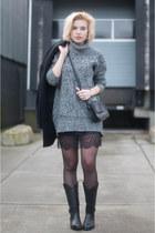 black sendra boots - black Boohoo dress - black asos coat